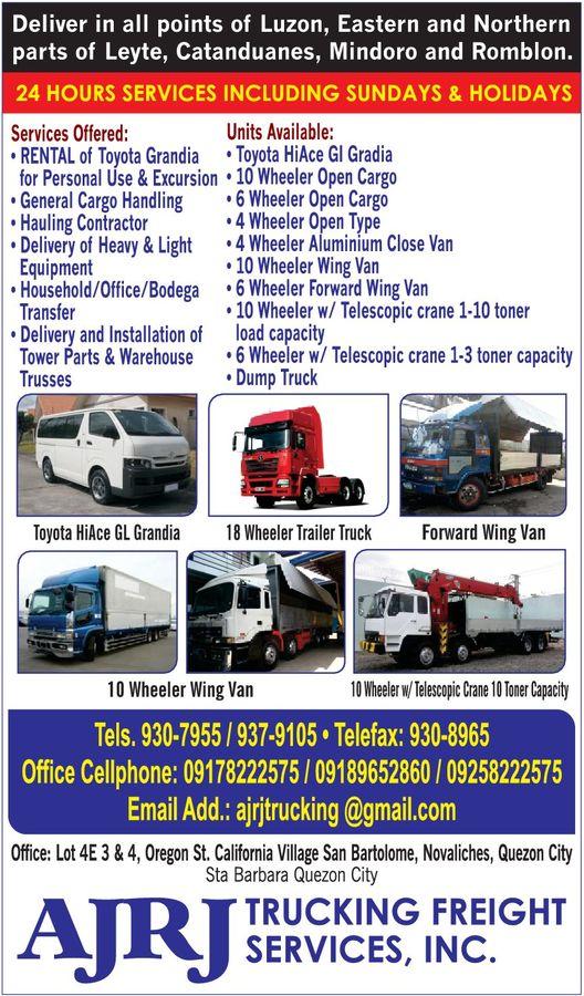 Ajrj Trucking Freight Services In Quezon City Metro